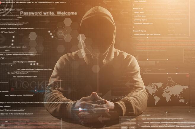 Cyber security hacker breaking into computer systems